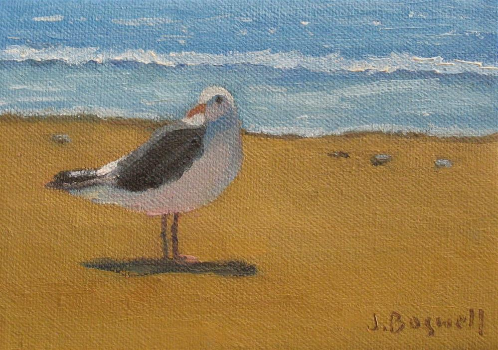 """Bird at the Beach Series 3"" original fine art by Jennifer Boswell"