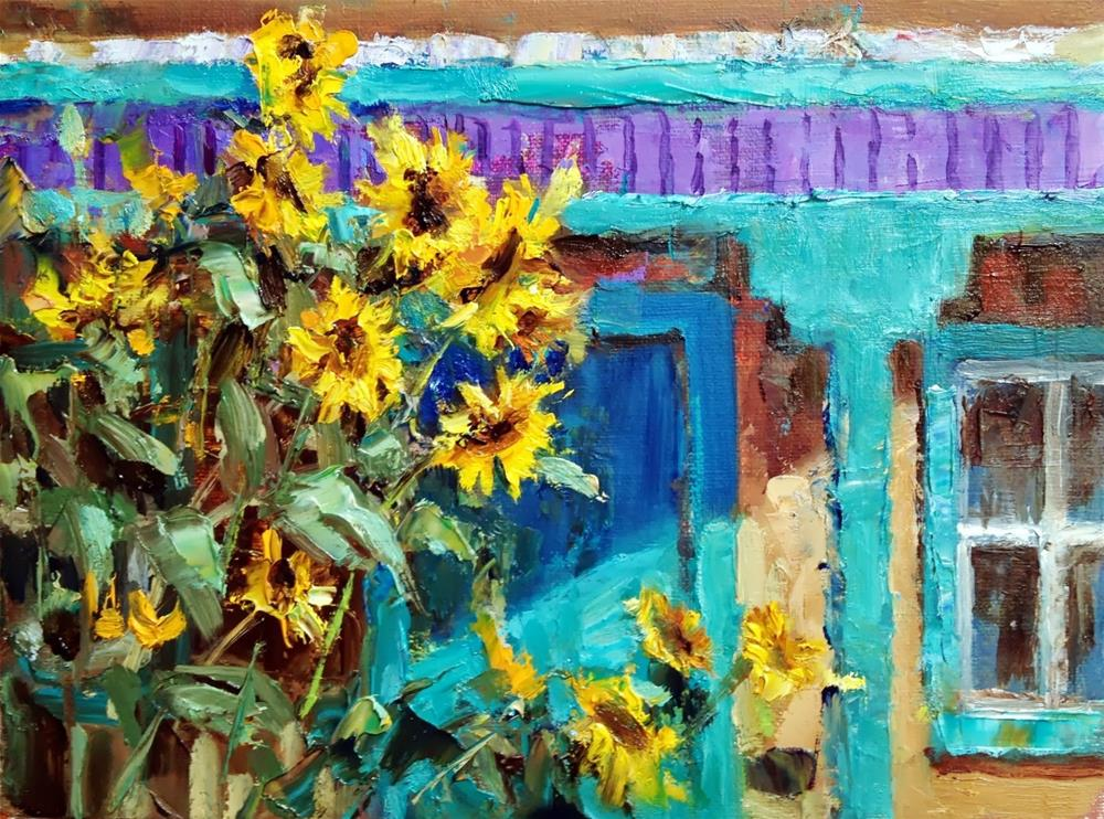"""New Mexico Sunflowers"" original fine art by Julie Ford Oliver"