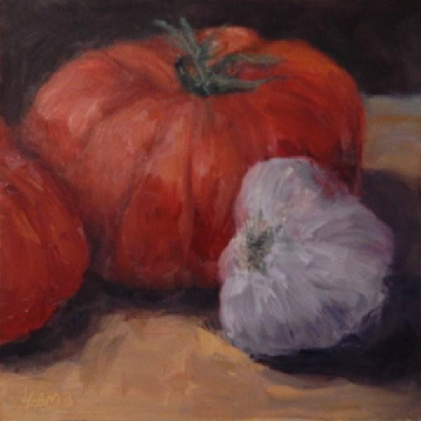 """Tomato & Garlic Study"" original fine art by Lori L. Lamb"