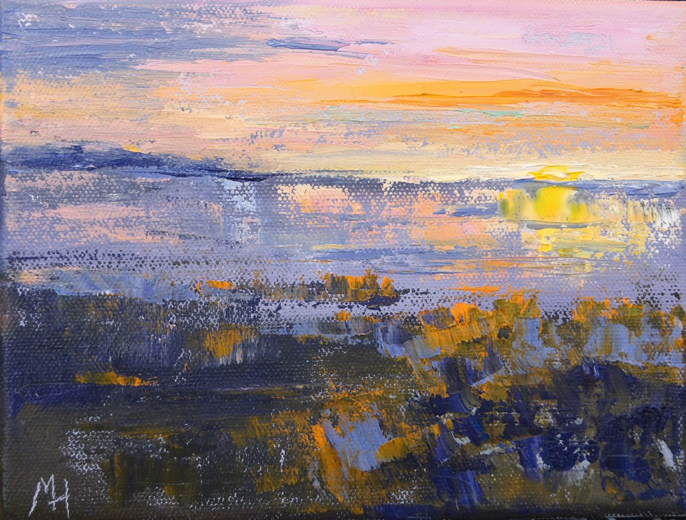 """Namibia Impressions 9 -Etosha Sunrise,"" original fine art by Marion Hedger"