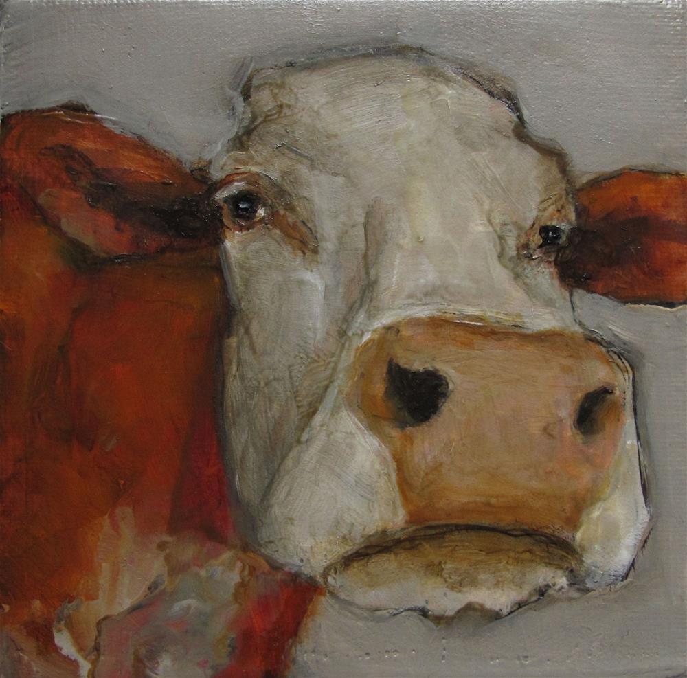 """COW Original FARM FOLK Art 4X4 Gallery Wrapped Canvas Painting OIL"" original fine art by Colette Davis"