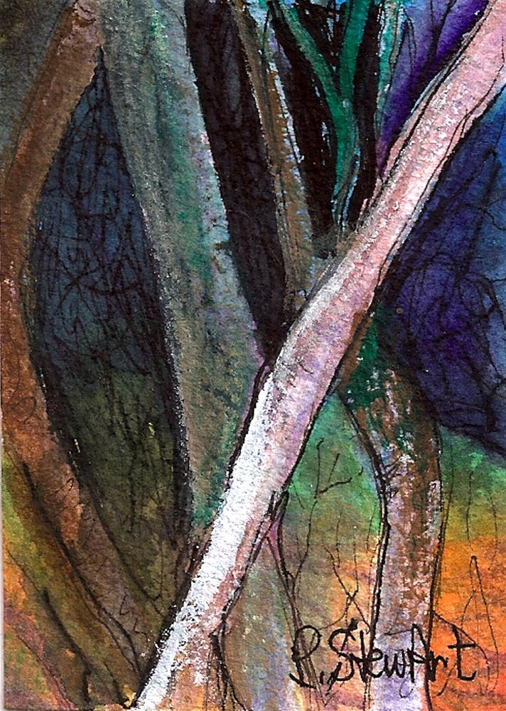 """""""ACEO Trees at Night by the Light of the Moon Watercolor Illustration Original"""" original fine art by Penny Lee StewArt"""