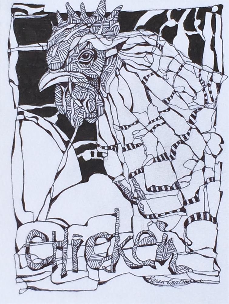 """""""Chicken Little, #5 Wire Drawing of 30 Day Challenge"""" original fine art by Karen Knutson"""