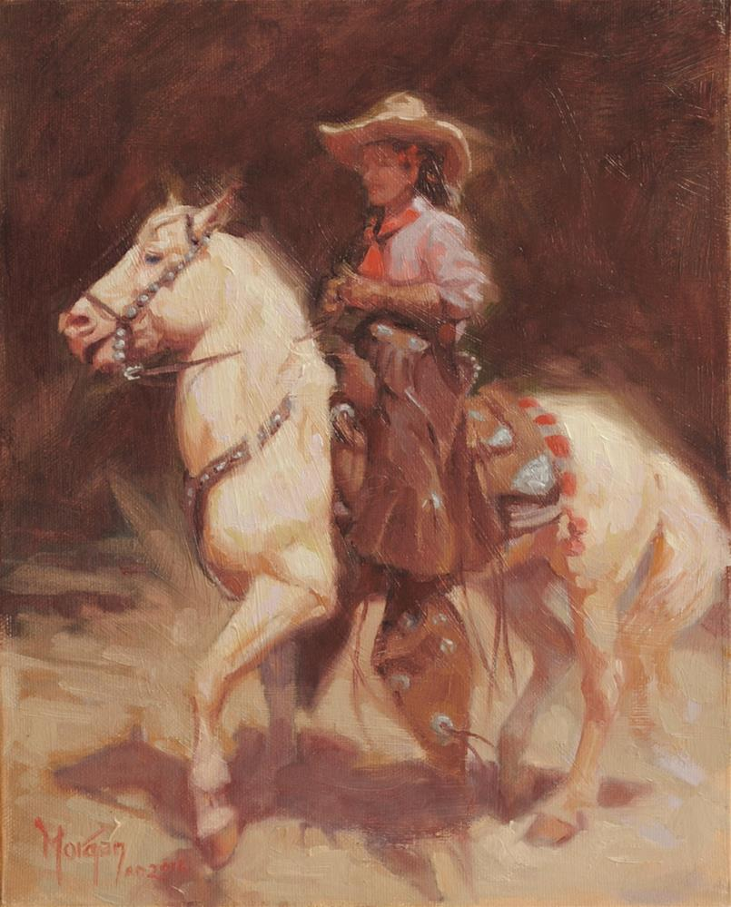 """Cowgirl Memories #11"" original fine art by Cecile W. Morgan"