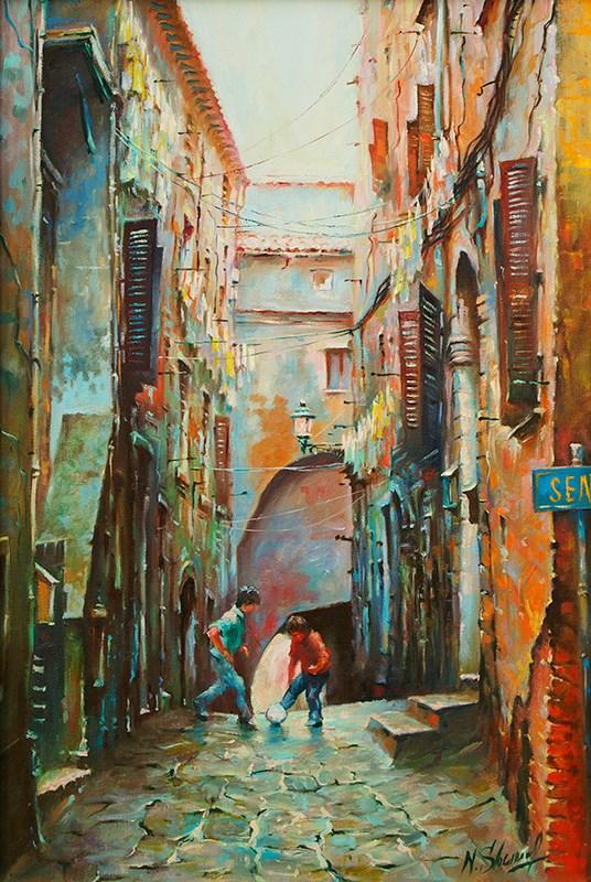 """Italian street scene, oil painting"" original fine art by Nick Sarazan"