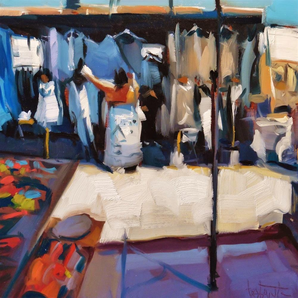 """Choosing a shirt"" original fine art by Víctor Tristante"