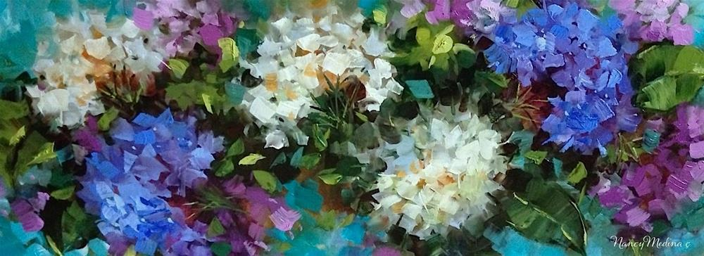 """Love Abounds Hydrangeas"" original fine art by Nancy Medina"