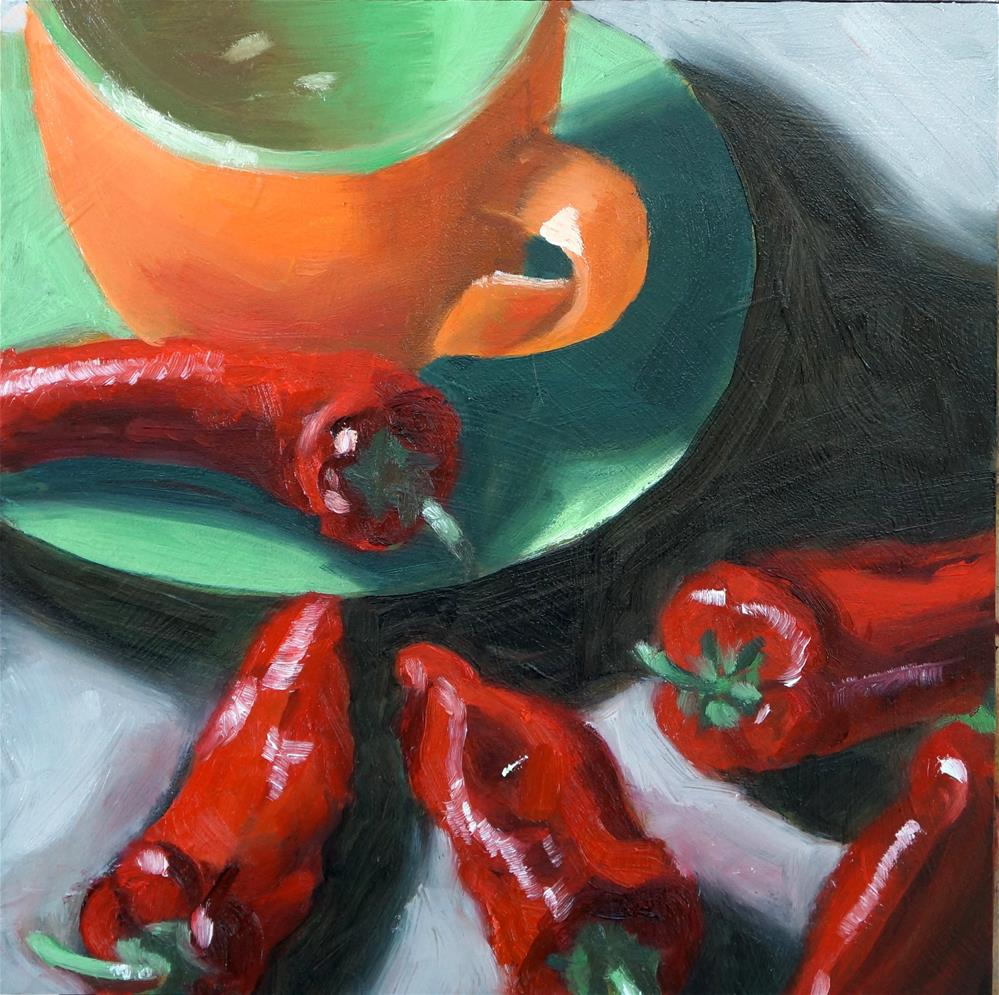 """Cup and Peppers"" original fine art by Dipali Rabadiya"