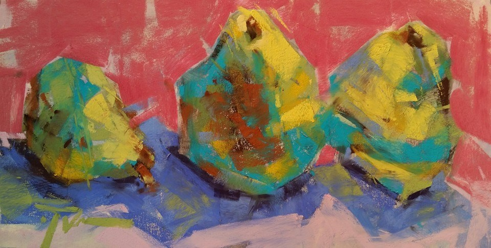 """Lemon Lime Trio"" original fine art by Jennifer Evenhus"