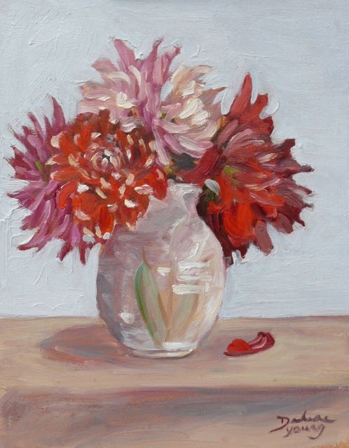 """Dahlias in a Pottery Vase"" original fine art by Darlene Young"