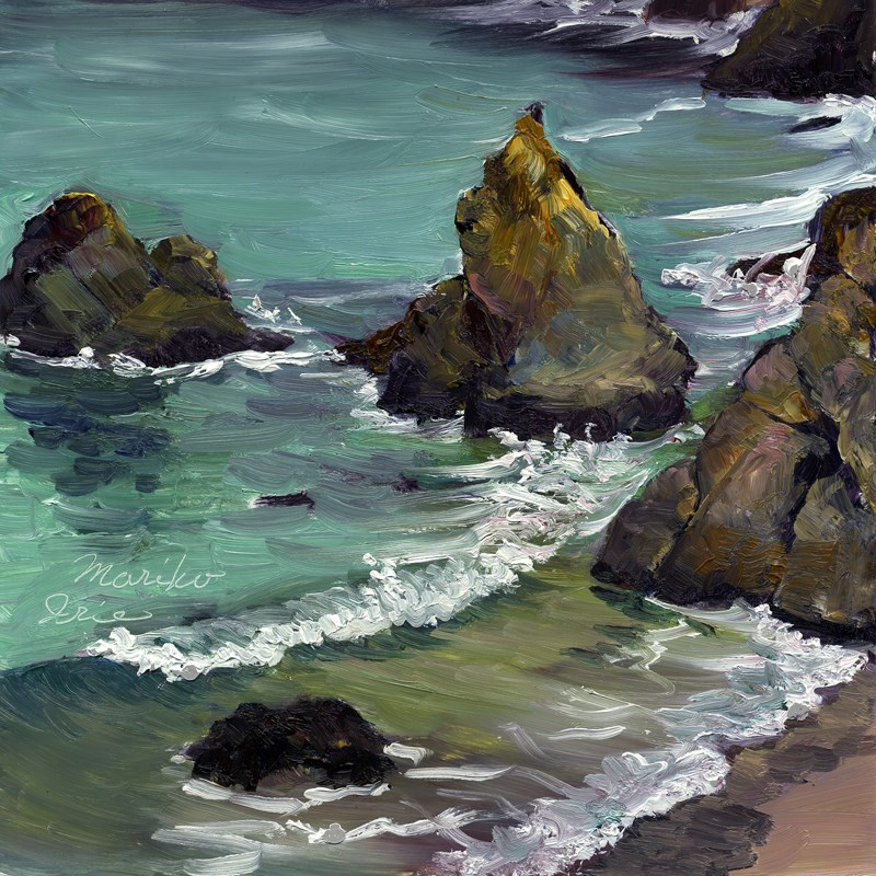 """Rocks by Shore"" original fine art by Mariko Irie"
