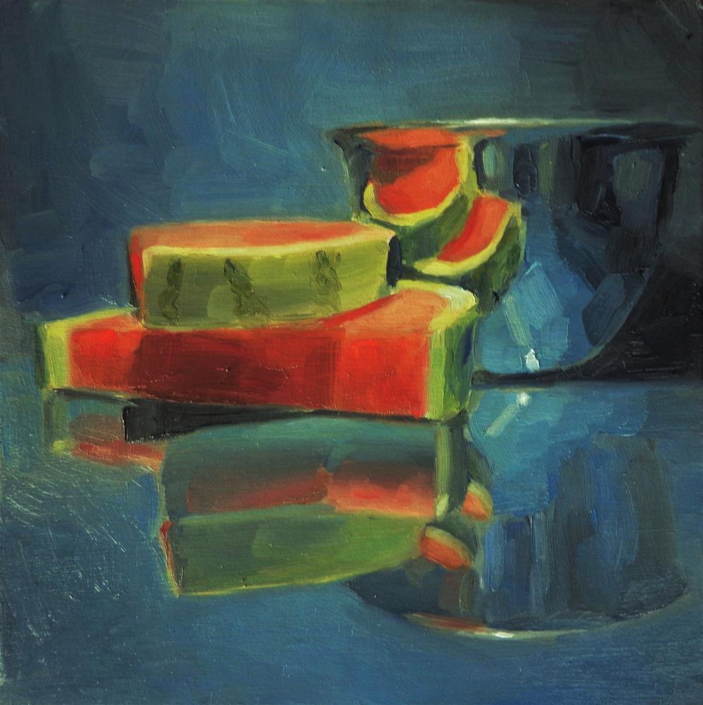 """Watermelon slices"" original fine art by Maria Z."