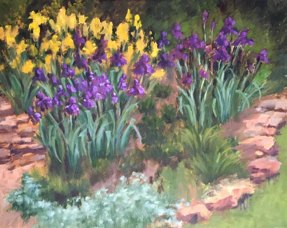 """Back Yard Iris"" original fine art by Pam Holnback"