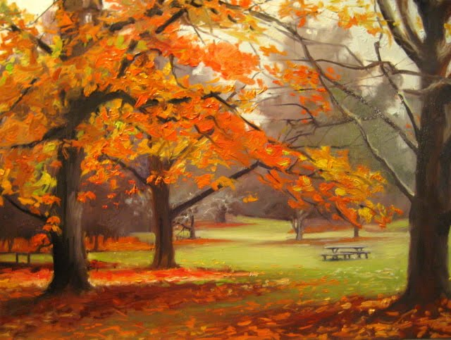 """Fall Palette  oil landscape, Arboretum series"" original fine art by Robin Weiss"