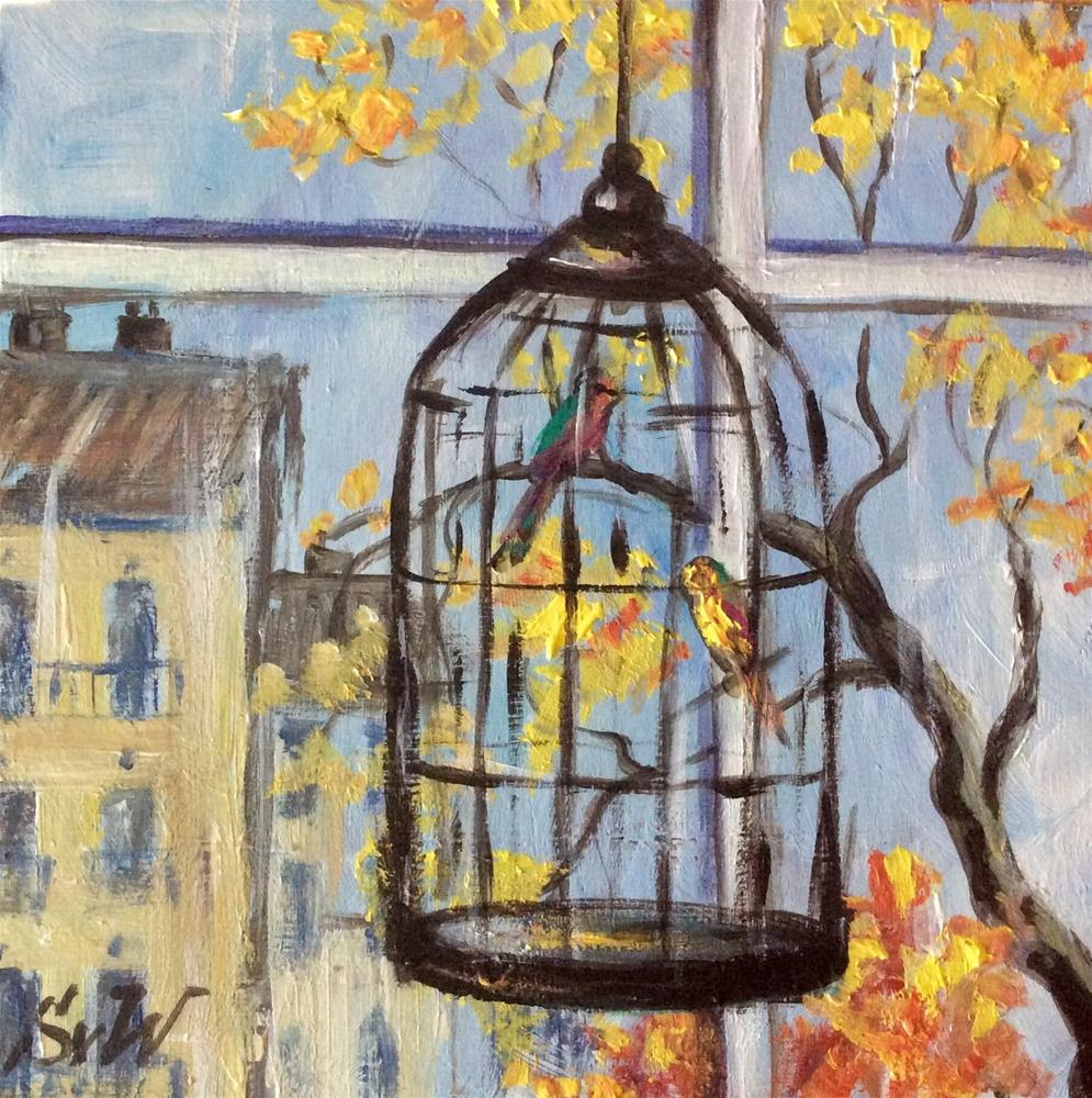 """City birds"" original fine art by Sonia von Walter"