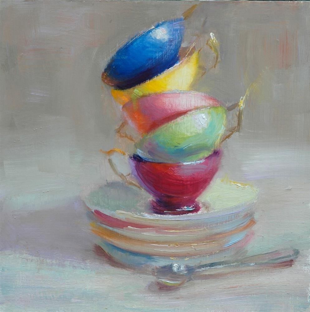 """Teacups"" original fine art by Johanna Spinks"