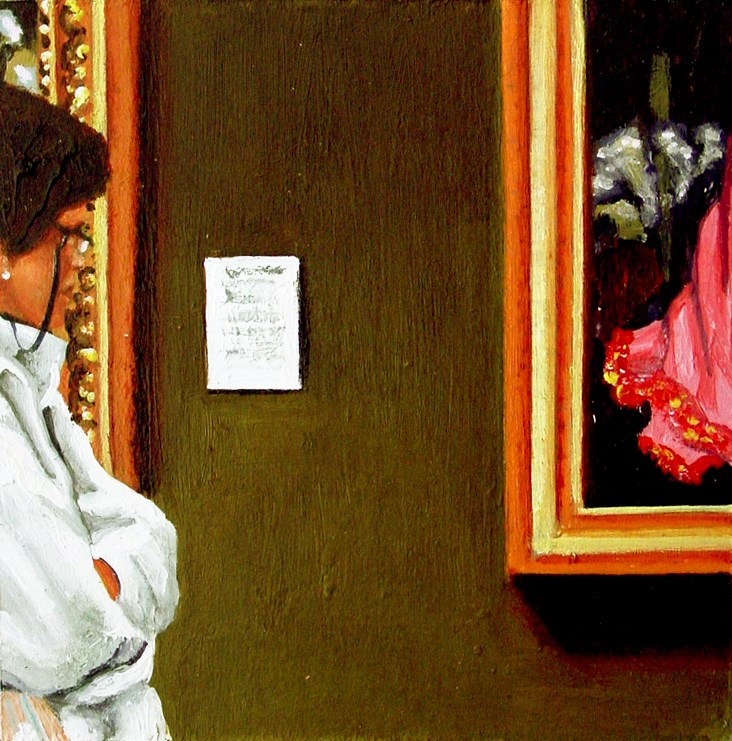 """Dress- Woman Enjoying Painting In Museum"" original fine art by Gerard Boersma"