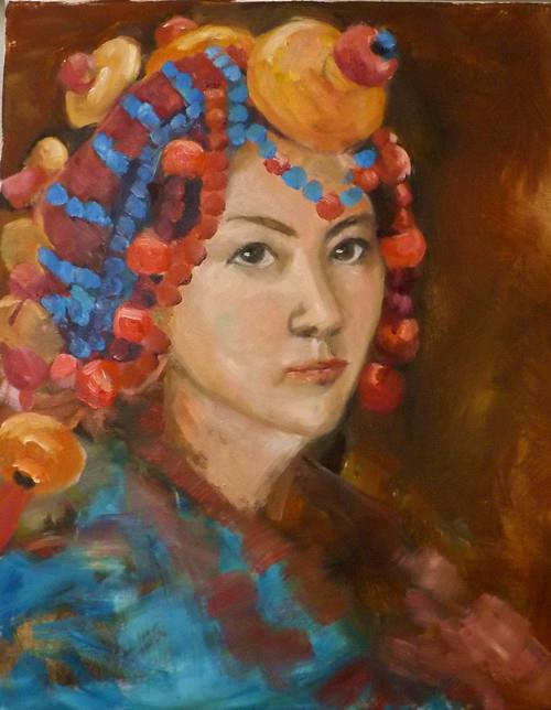 """Tibetan girl,2"" original fine art by Run-      Zhang Zane"