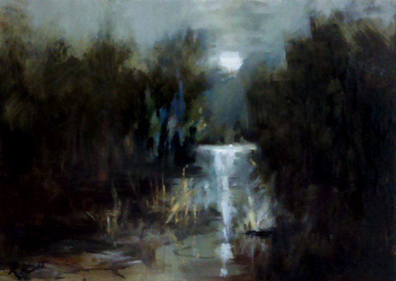 """Murky Stream"" original fine art by Bob Kimball"