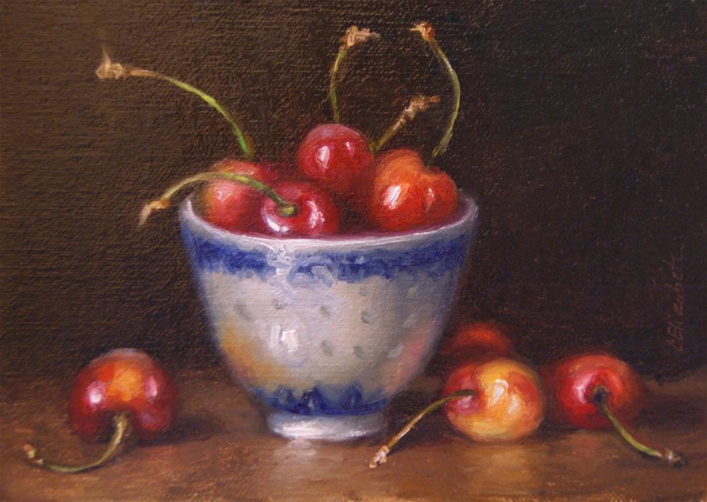 """""""Still Life with Cherries and Cup,  Oil on 5x7 Linen Panel"""" original fine art by Carolina Elizabeth"""