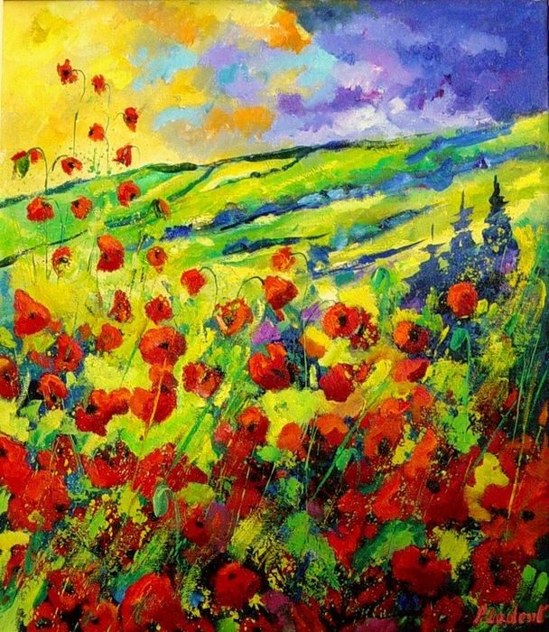 """red poppies 78"" original fine art by Pol Ledent"