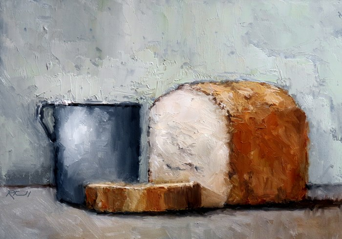 """""""Bread and Tin Cup"""" original fine art by Bob Kimball"""