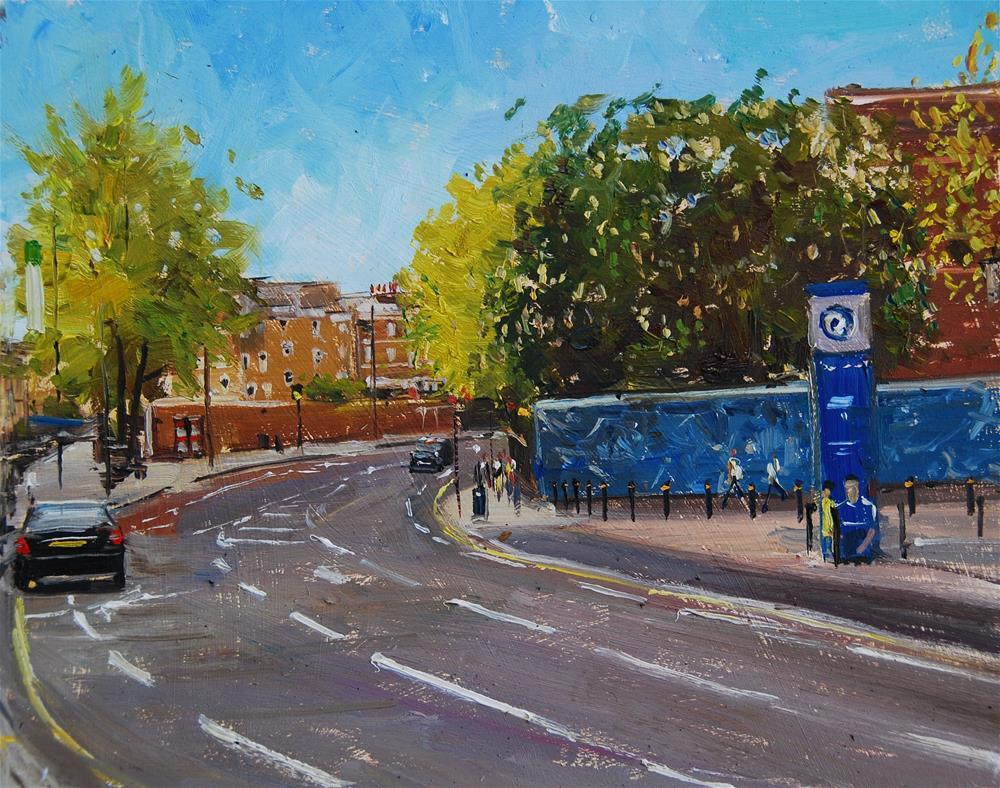"""Chelsea Football Club, Stamford Bridge Entrance"" original fine art by Adebanji Alade"