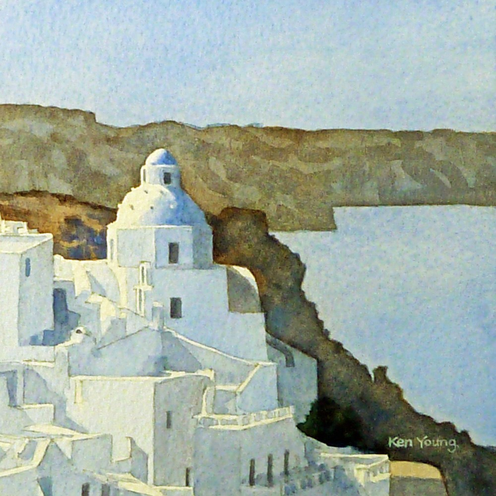 """Santorini Morning"" original fine art by Ken Young"