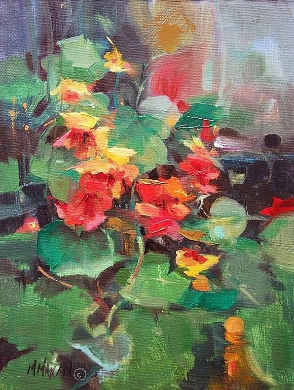 """Nasturtiums"" original fine art by Mary Maxam"