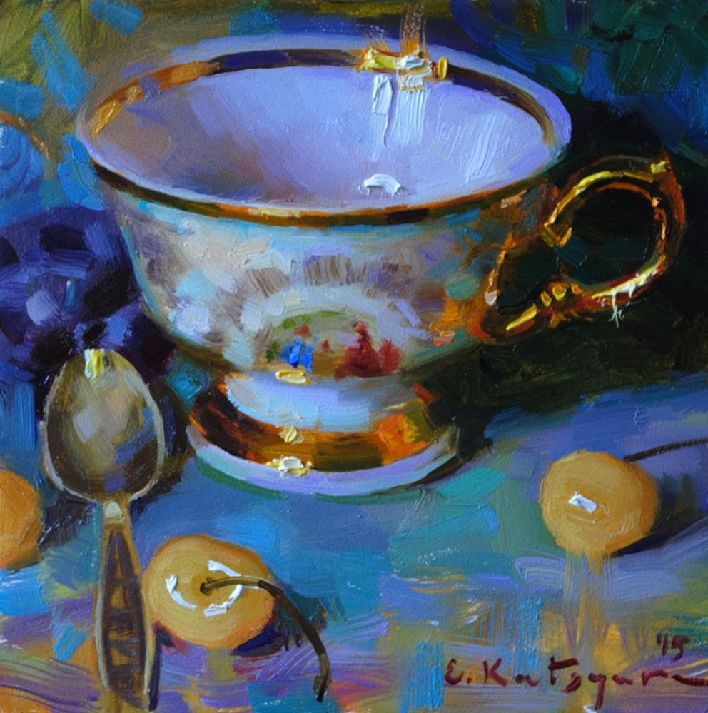 """Golden Cup and Cherries"" original fine art by Elena Katsyura"