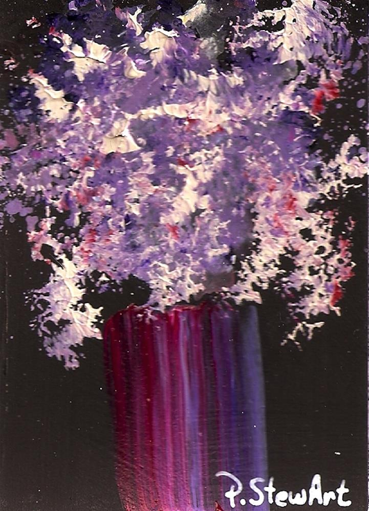 """ACEO Purples and Pinks Floral Bouquet in a Fuschia Vase, Lilacs, Heather"" original fine art by Penny Lee StewArt"