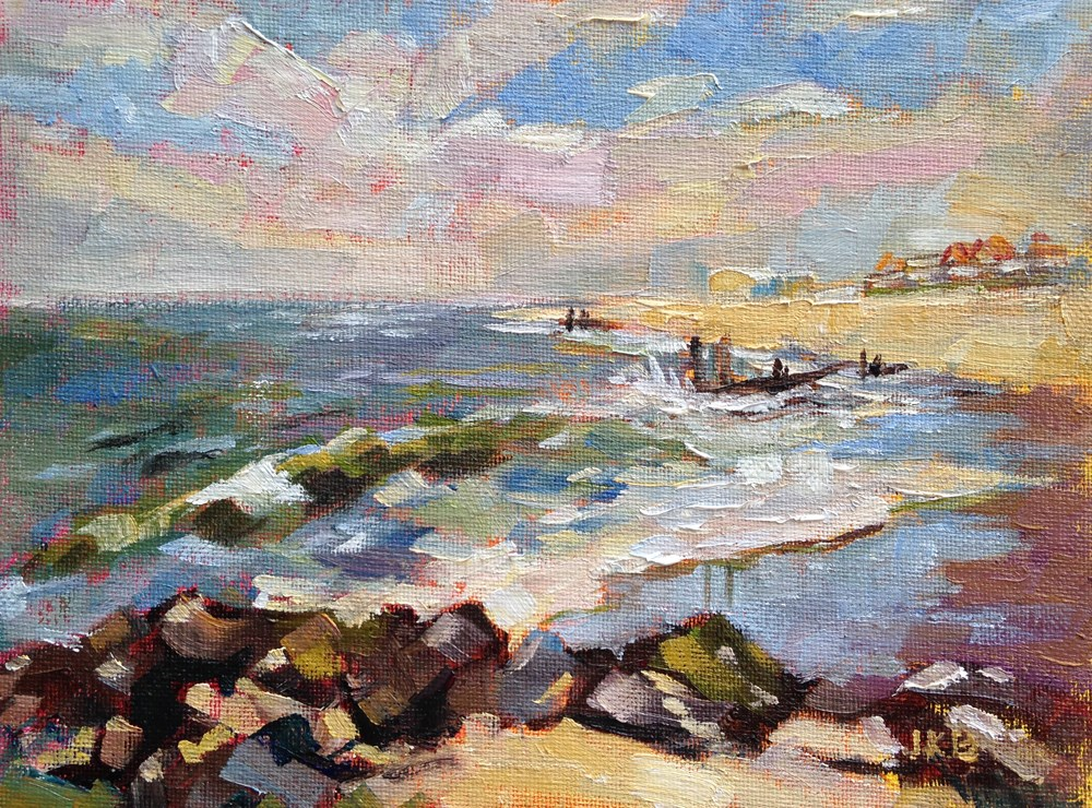 """Windy Day on the Beach at Cape May"" original fine art by Jeanne Bruneau"
