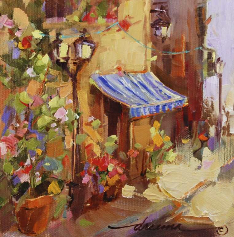 """The Sunny Side of the Street, French Style"" original fine art by Dreama Tolle Perry"