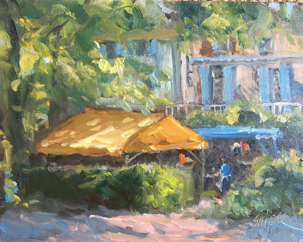 """Let's Have Lunch in the South of France"" original fine art by Connie Snipes"