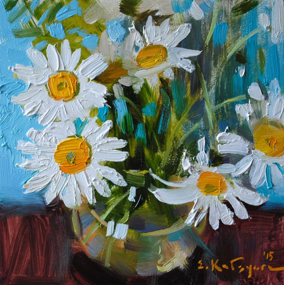 """Summer Daisies (Sold)"" original fine art by Elena Katsyura"