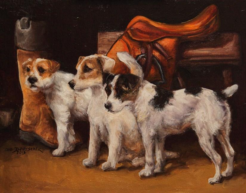 """""""Parson Jack Russell Terriers"""" original fine art by Sue Deutscher"""