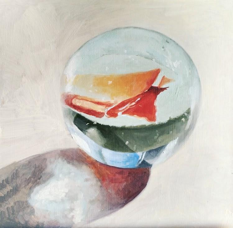 """Glass Marble"" original fine art by Pam Greene"