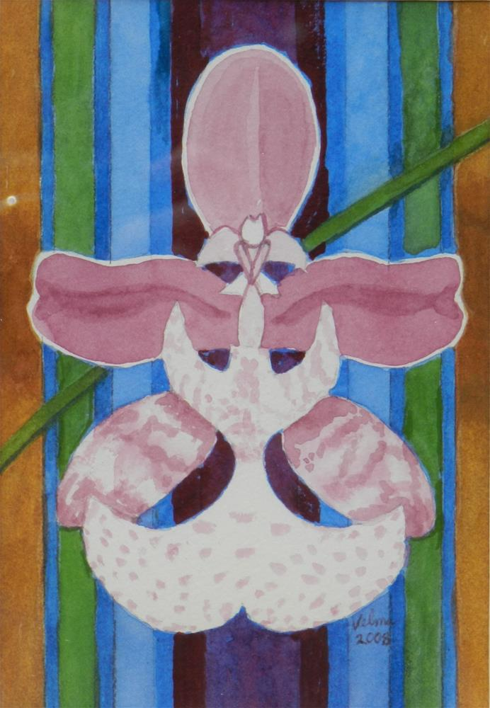 """Purple and White Orchid"" original fine art by Velma Davies"