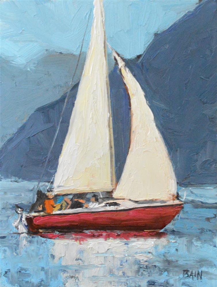 """Sail Reflection"" original fine art by Peter Bain"