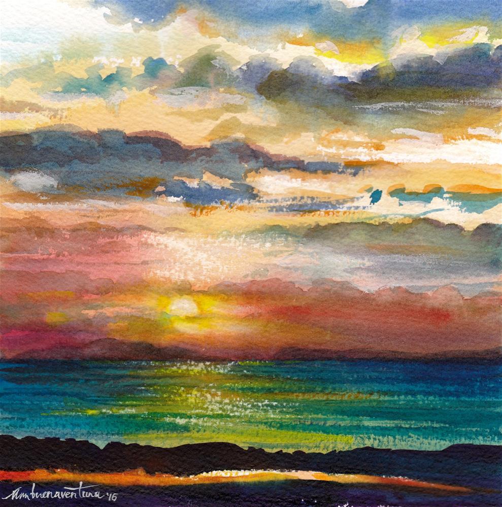 """""""Pacific Sunset 3"""" original fine art by Ann Buenaventura"""