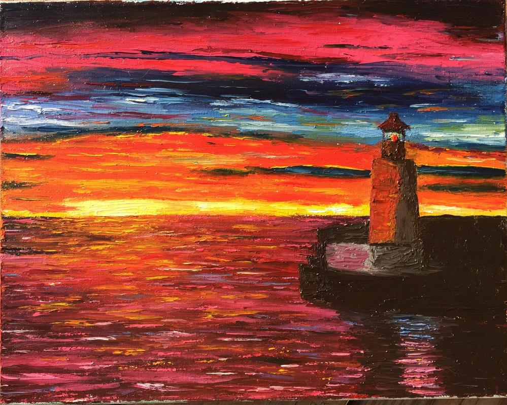 """The Lighthouse"" original fine art by Jiani Shan"