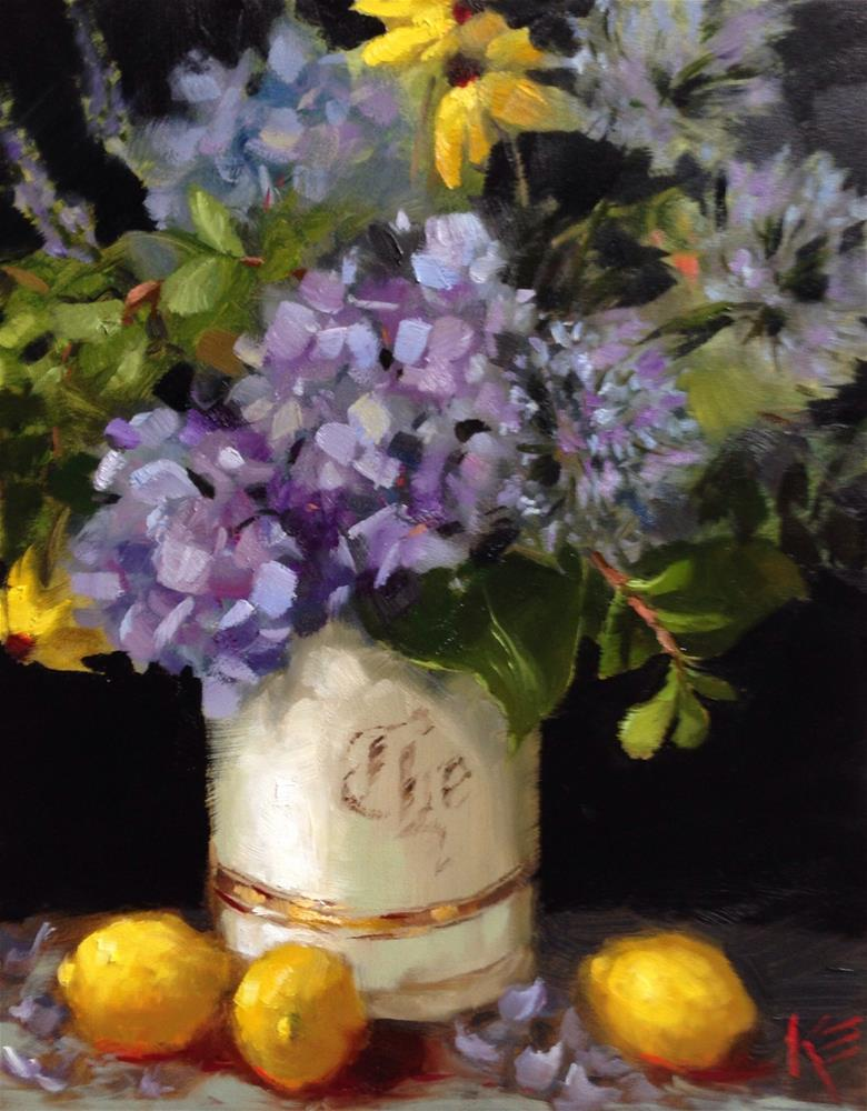 """Hydrangeas in vintage tea jar"" original fine art by Krista Eaton"