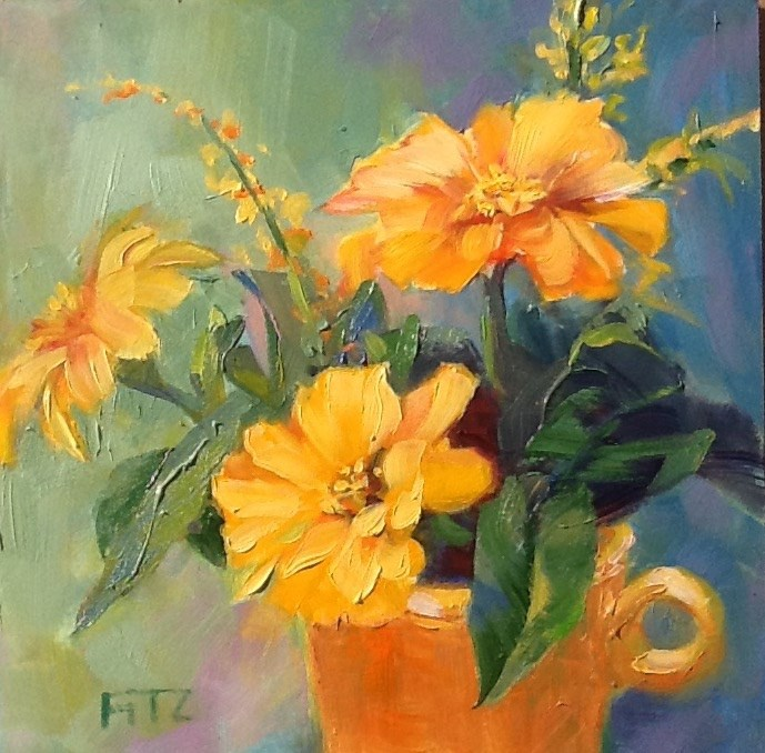 """Zinnias Revisited"" original fine art by Jean Fitzgerald"