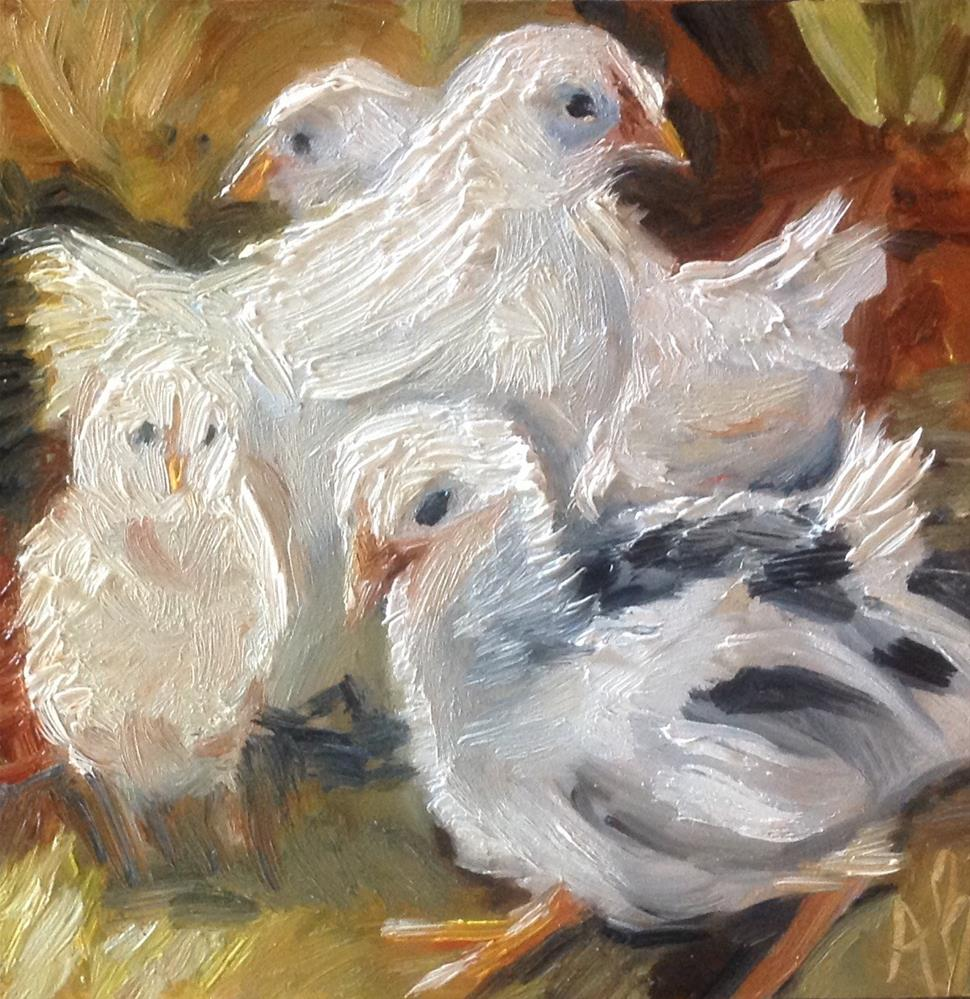 """Backyard chickens"" original fine art by Annette Balesteri"