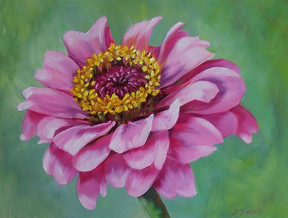 """Pink Zinnia"" original fine art by Donna Munsch"