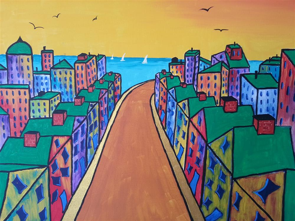 """Streets Lined With Gold"" original fine art by Karleen Kareem"