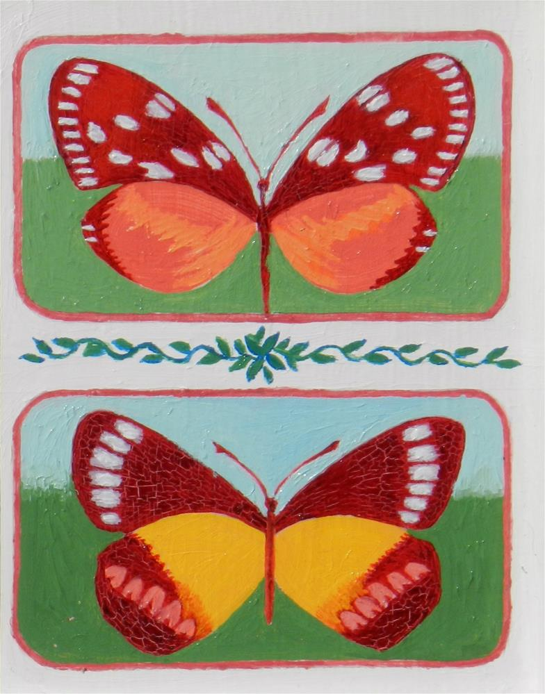 """Double Butterflies #2"" original fine art by Velma Davies"