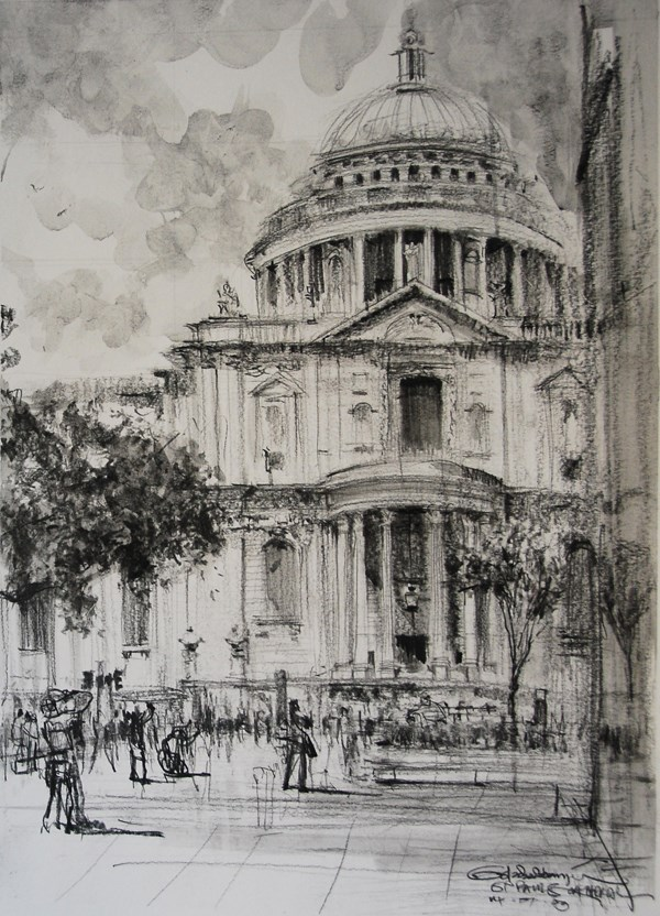 """St Paul's Cathedral"" original fine art by Adebanji Alade"