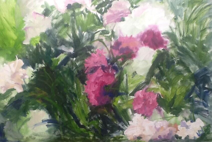 """Painting interrupted"" original fine art by Peggy Schumm"