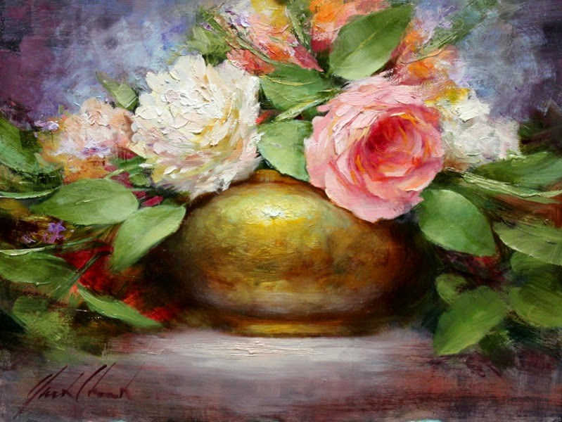 """""""Roses and Peonies"""" original fine art by Justin Clements"""